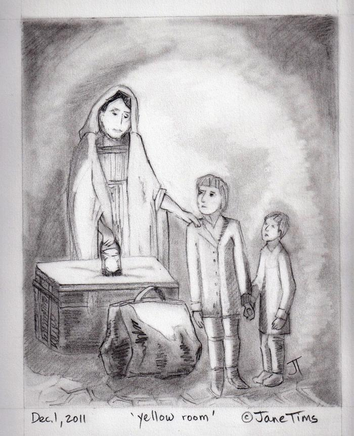 my drawing of William Spavold, his mother and brother after their shipwreck
