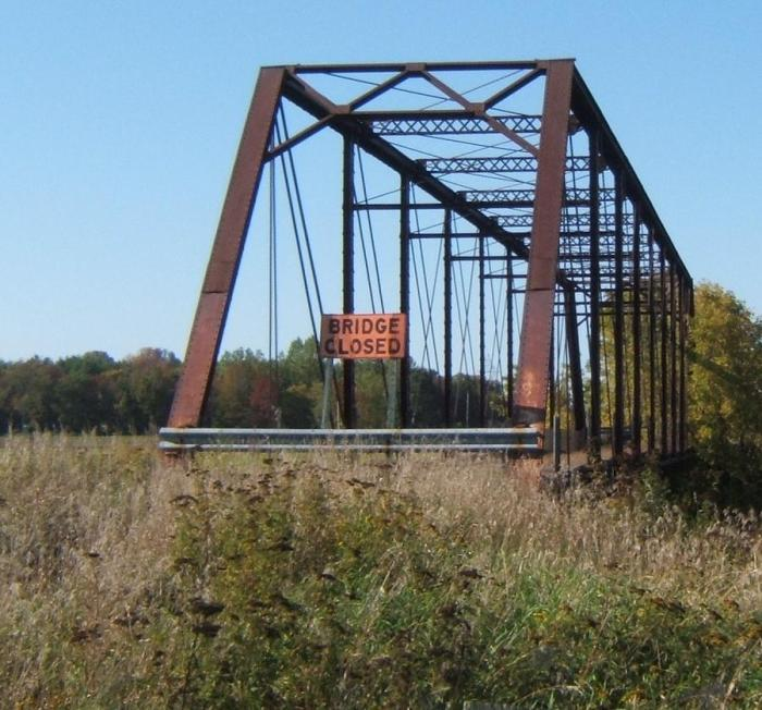 metal bridge on the South Nation River