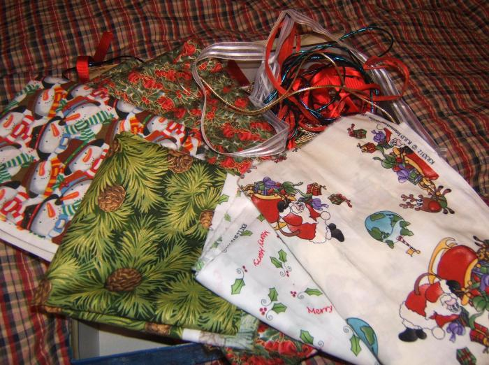 a variety of Christmas fabric