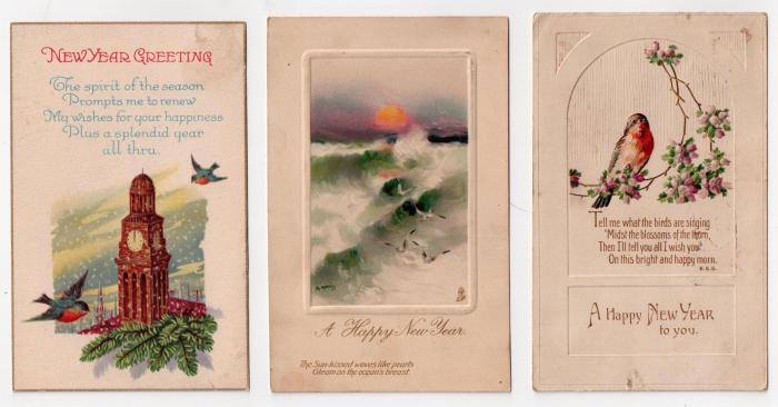 three New Years post cards