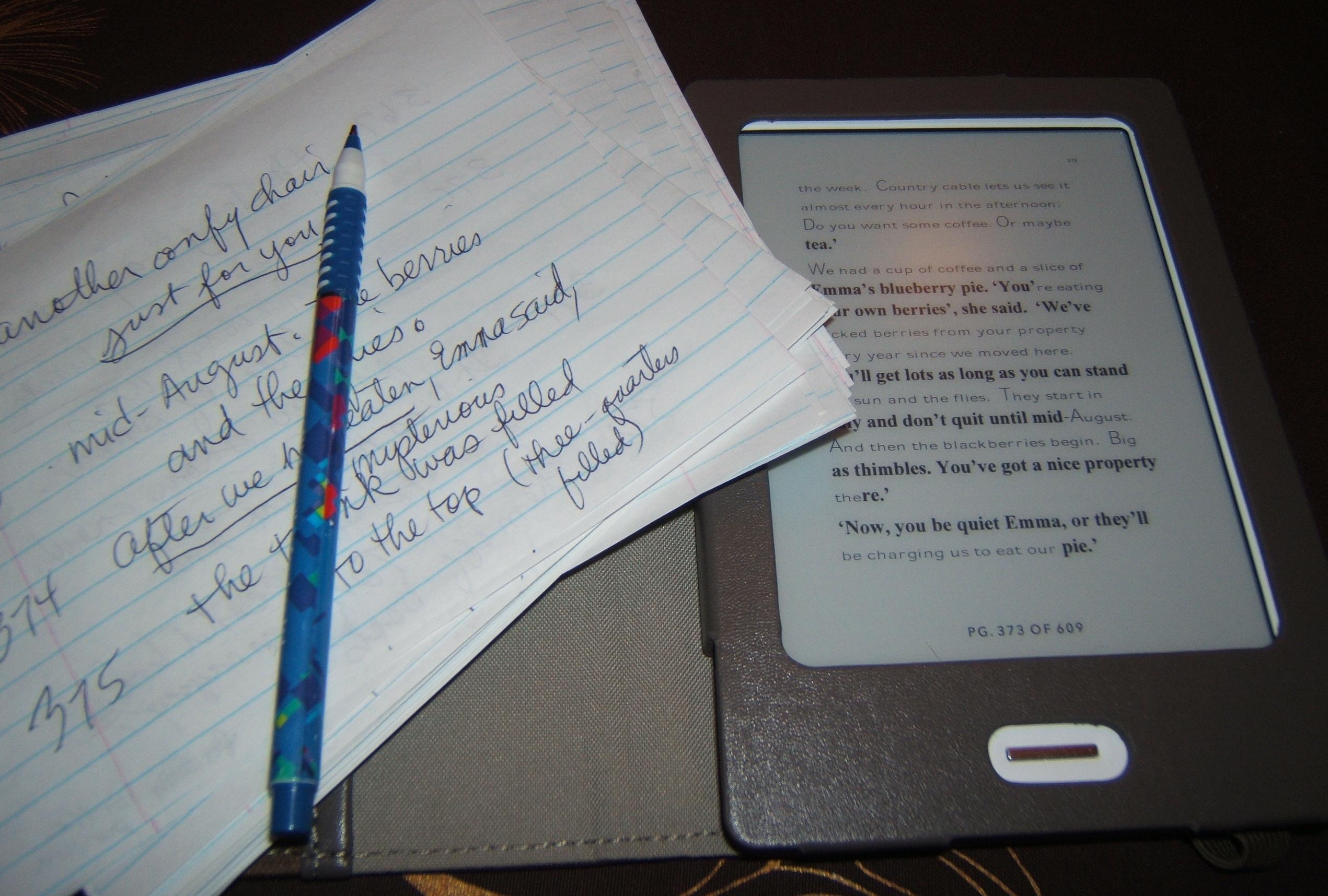 edits with my Kobo e-book