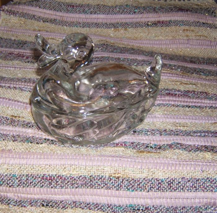 clear glass duck