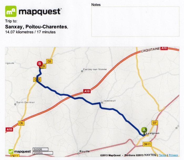 from Lusignan to Sanxay, France