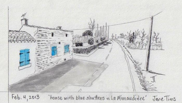 'house with blue shutters in La Mimaudiere'