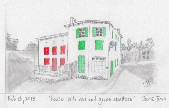 'house with red and green shutters'