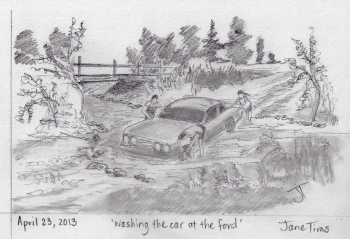 'washing the car at the ford'