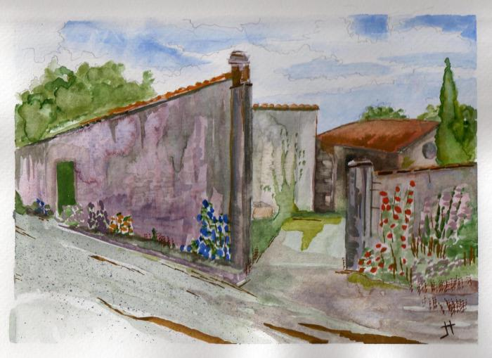 'walled courtyard in La Flotte'