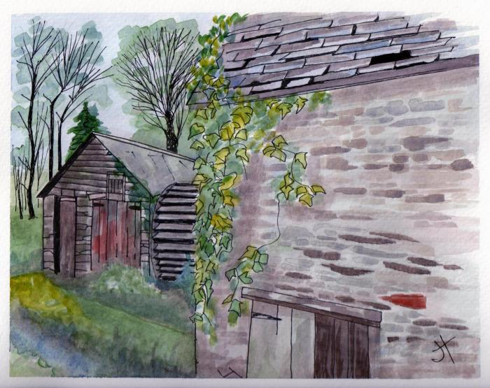 July 29, 2013  'old water mill at Pont Pill'   Jane Tims