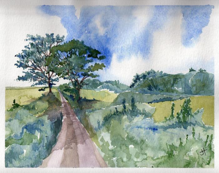 November 26, 2013  'maple and oak near Helford'   Jane Tims