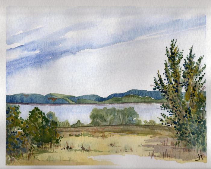 January 7, 2014  'Restigouche River and hills of Quebec'   Jane Tims