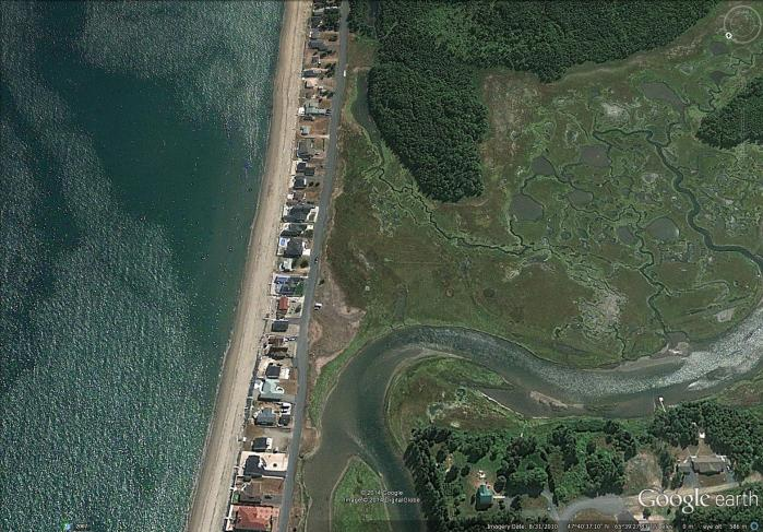 aerial view of Peters River salt marsh (right) and Youghall Beach (left)  (image from Street View)