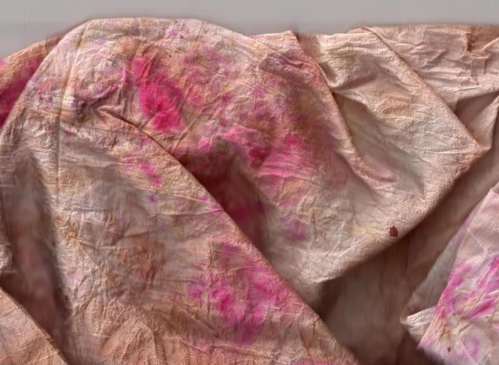 silk fabric dyed with dried flower petals ... the deep pink is from the extra flowers I added