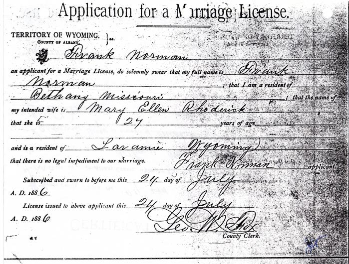 Marriage Licence Application for Frank Norman and Ella Hawk (Mary E. Rhoderick)