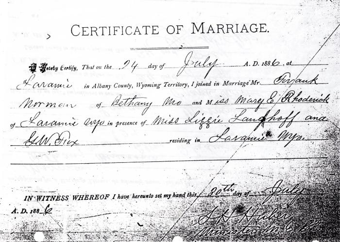 Certificate of Marriage for Frank Norman and Mary E. Rhoderick