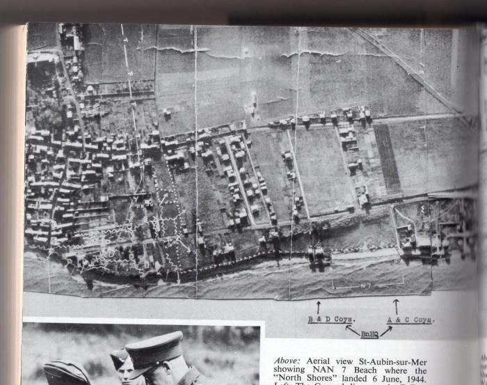 aerial map showing the beach where the North Shore Regiment landed on June 6, 1944 (Will R. Bird, South Shore (New Brunswick) Regiment, 1963)