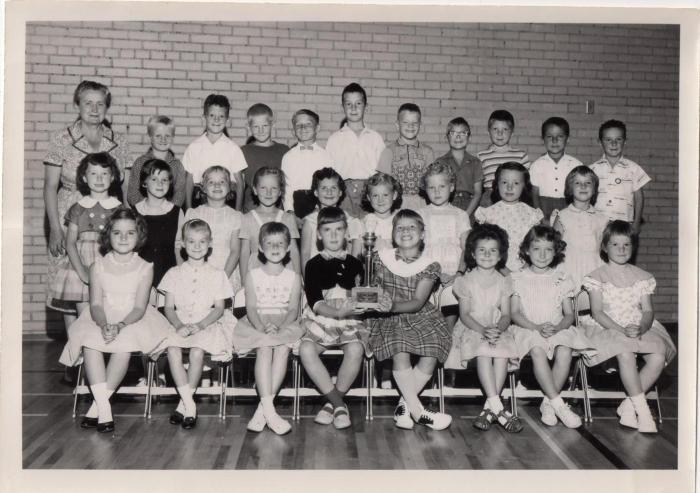 Mrs. McDonald's Grade One class (I am first left in bottom row; Mrs. McDonald is at upper left)