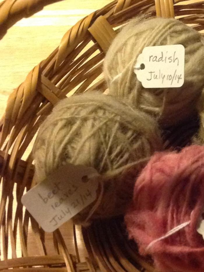 my hand-spun balls of wool from radish and beet leaves ... the pink is from my earlier tests with pickled beets