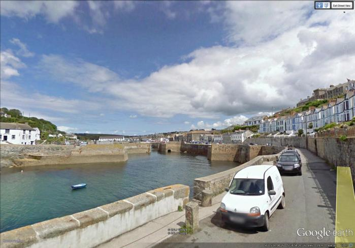 the fortified harbour of Porthleven (image from Street View)