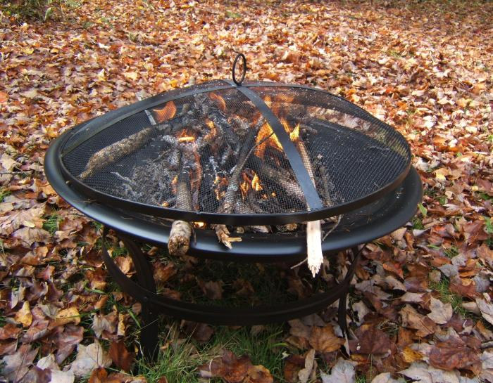 first fire in my metal fire pit - leaves and wood  wet after yesterday's rain