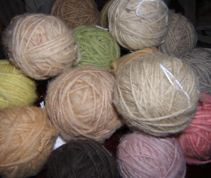 some of my balls of hand dyed wool