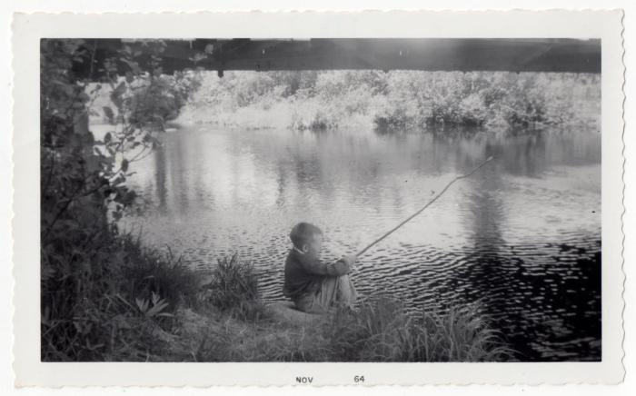 my husband when he was a boy, fishing on the North Branch of the Rusagonis River, under the covered bridge