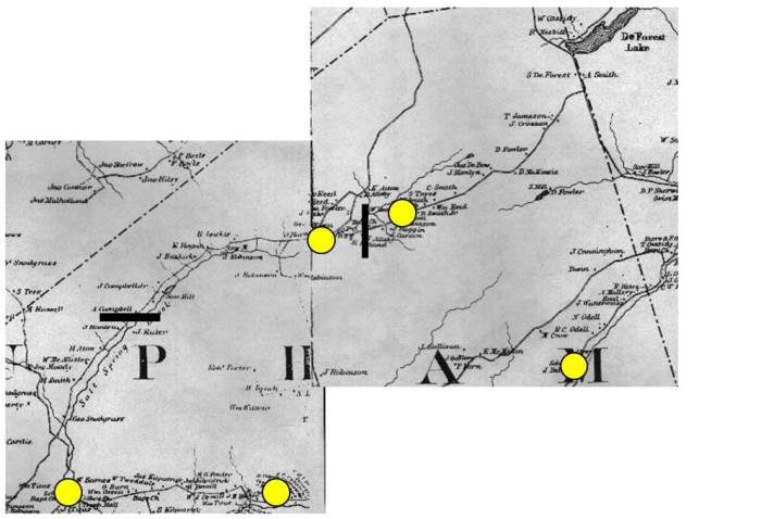 location of schools near Salt Springs, Kings County, New Brunswick in 1886