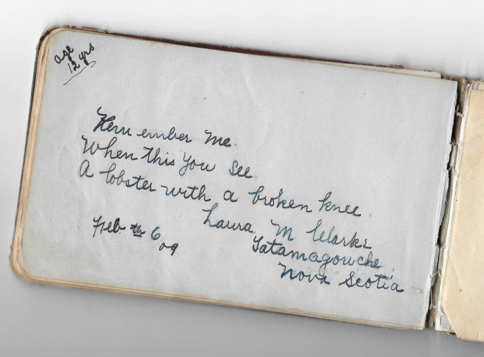 Great-Aunt Laura Clark's autograph in my Great-Grandmother's autograph album